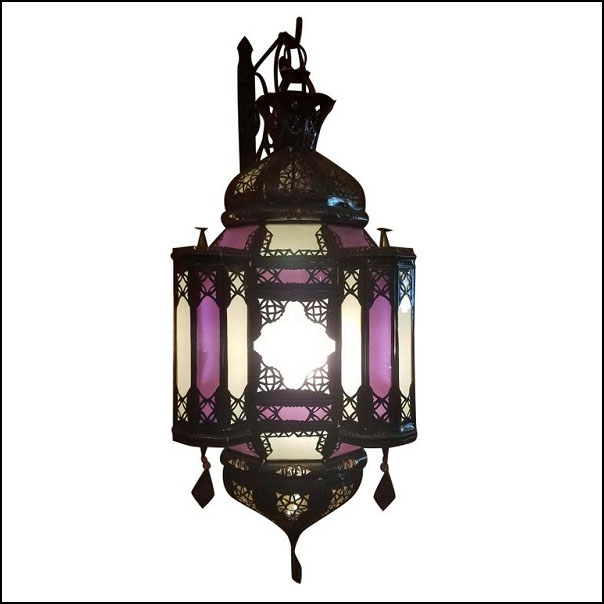 Moroccan Handmade Metal Lantern – Purple / Frosty White Glass