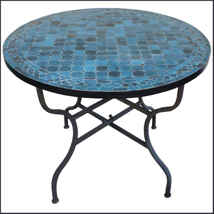 40″ Diam. Petro Blue Moroccan Mosaic Table