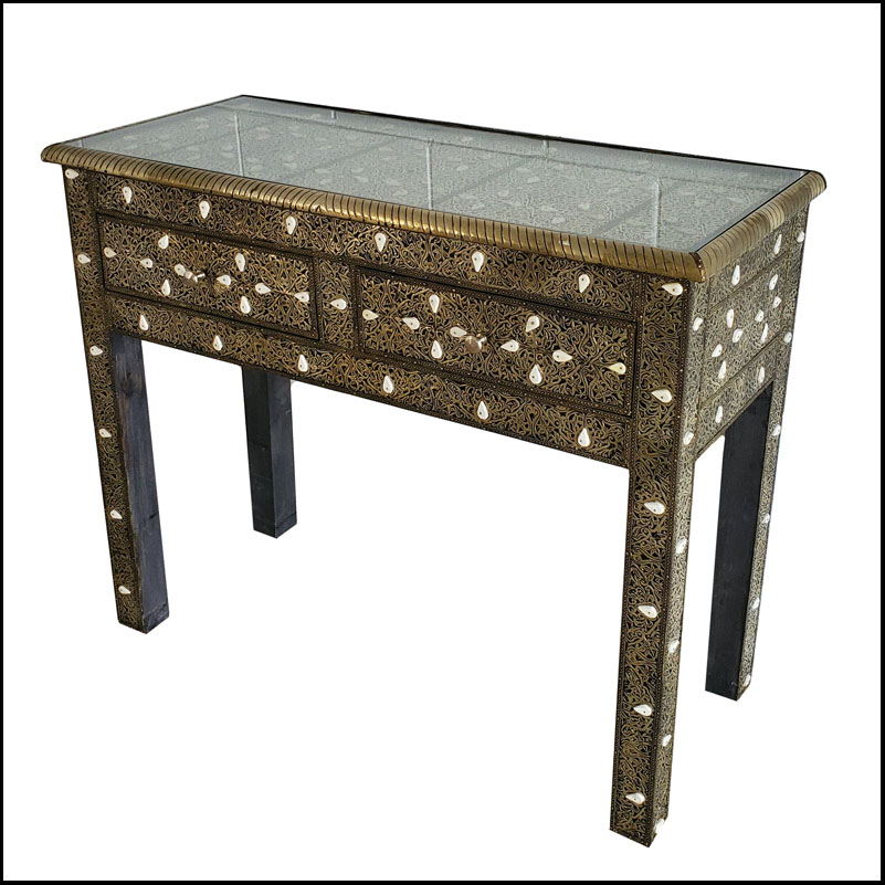 Moroccan Camel Bone and Metal Inlay Console Table