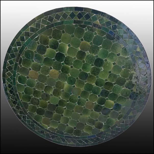 32″ Diam. Green / Green Moroccan Mosaic Table – CR4 Style
