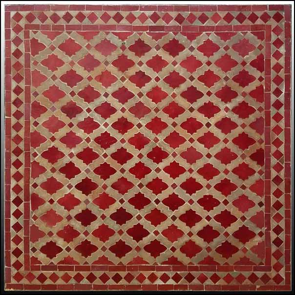 32″ Sq. Burgundy / Beige Moroccan Mosaic Table