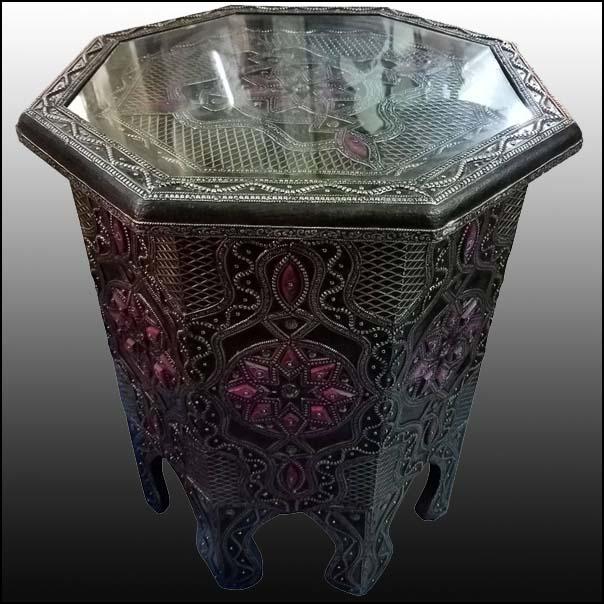 Marrakech Camel Bone Side Table – Purple Accent