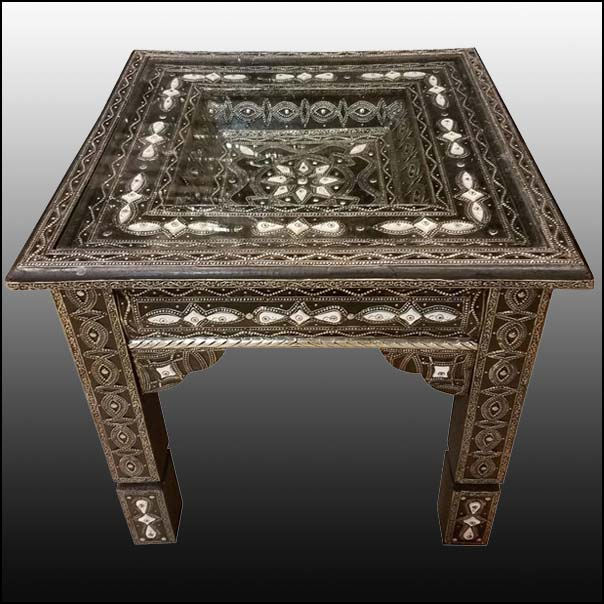 Metal / White Camel Bone Inlaid Moroccan Side Table – Square