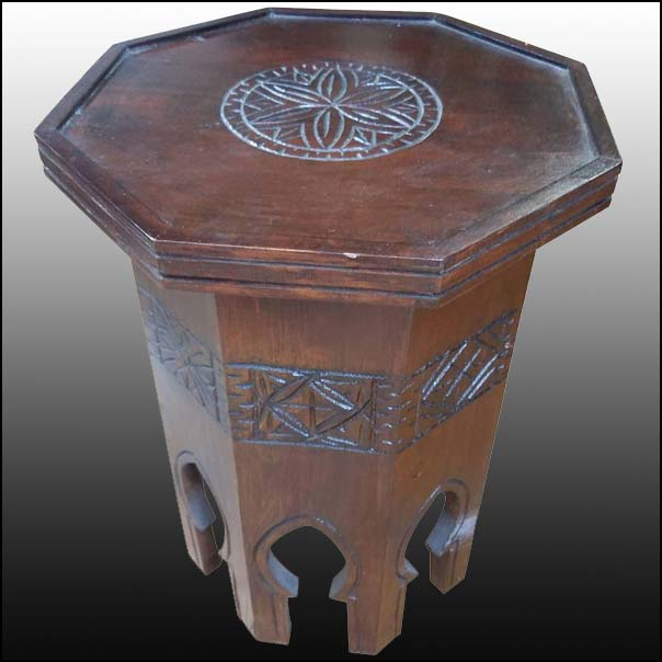 Erfoud Style Moroccan Carved Side Table, Cedar Wood