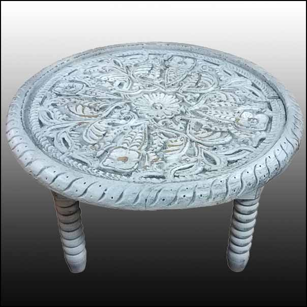 Off-White Round Hand-Carved Side Table, Rabat