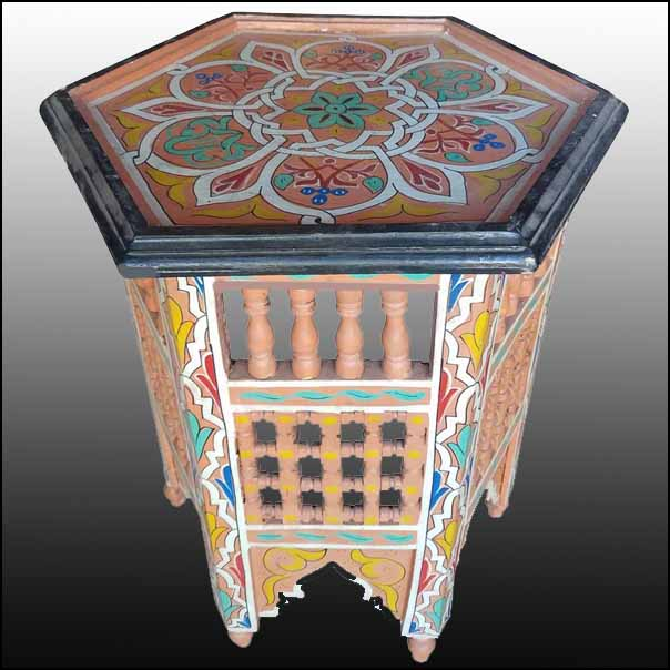 Salmon Color Hexagonal Hand-Painted Table, Marrakech