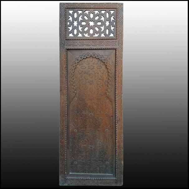 Moroccan Carved Cedar Wood Door, Single Panel