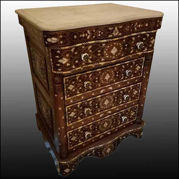 Syrian Mother-of-Pearl Walnut Wood Chest of Drawers, Chocolate Brown