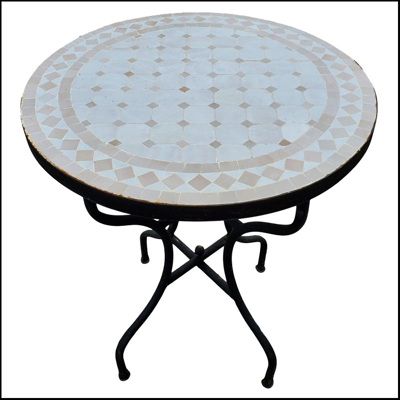 24″ White And Beige Moroccan Mosaic Table, Choice of Base Height