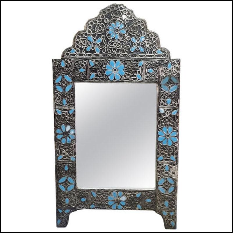 Karama Arched Moroccan Metal Inlaid Mirror, Rabat, Blue Motif