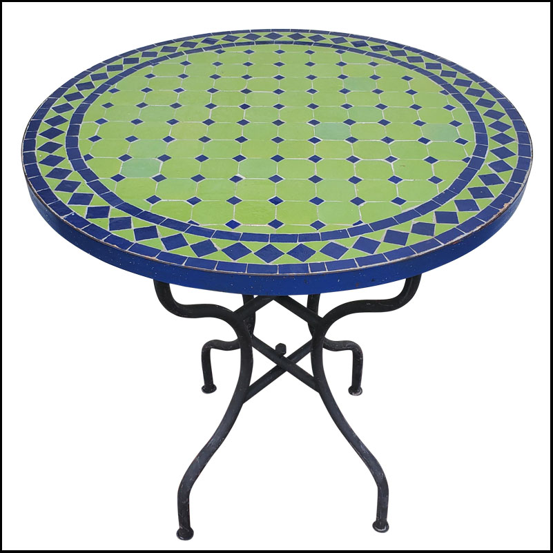 28″ Lime Green / Blue Moroccan Mosaic Table Top