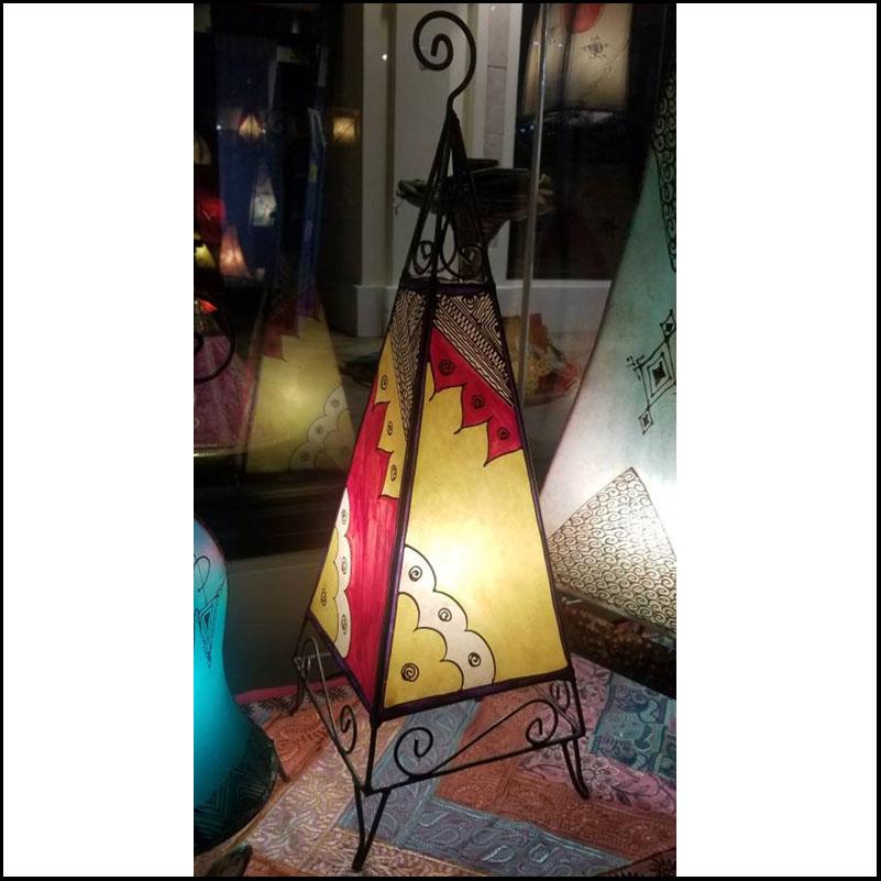 27″ Pyramid Multicolor Moroccan Henna Lamp – 1
