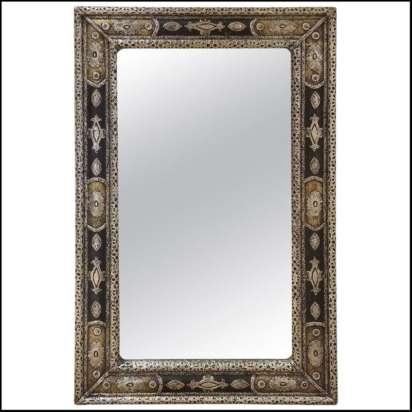 Moroccan Rectangular Metal Inlaid Mirror, Har 31