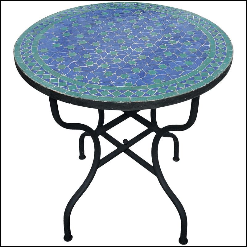 32″ Rafaraf Style Blue / Green Moroccan Mosaic Table