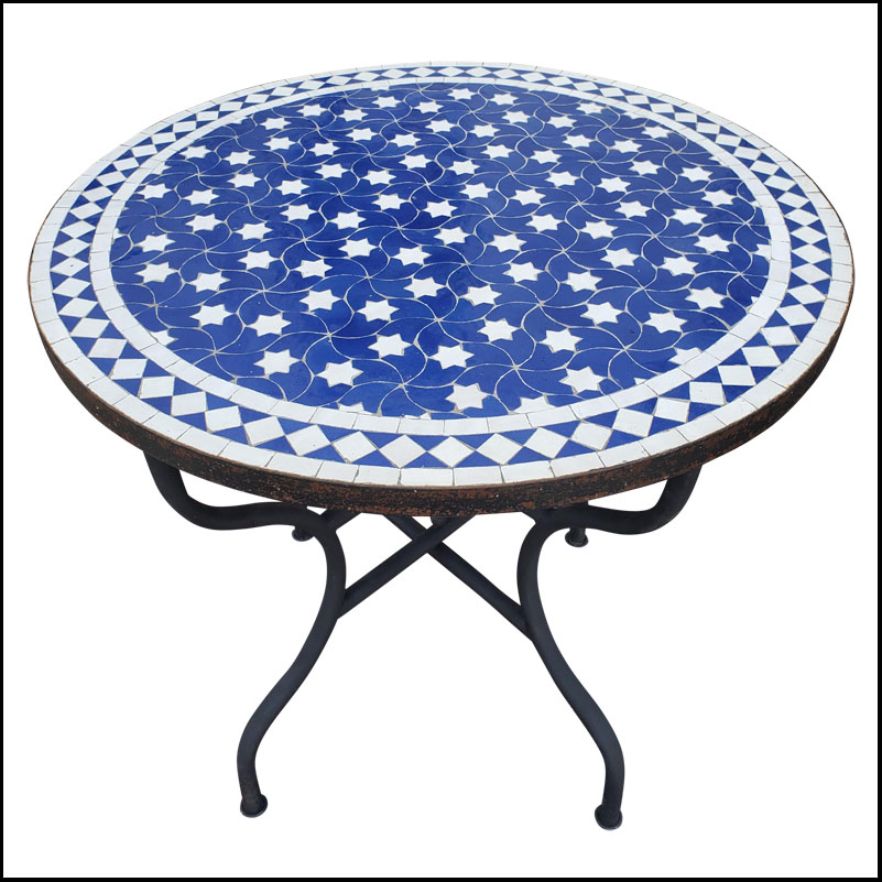 32″ Blue / White Moroccan Mosaic Table Top – Rafraf Style