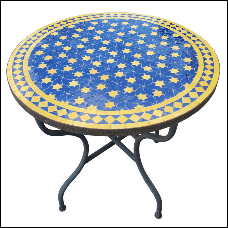 32″ Blue / Yellow Moroccan Mosaic Table Top – Rafraf Style