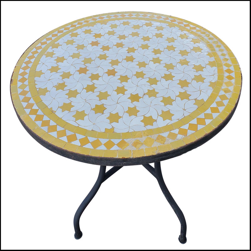 32″ Round White / Yellow Moroccan Mosaic Table