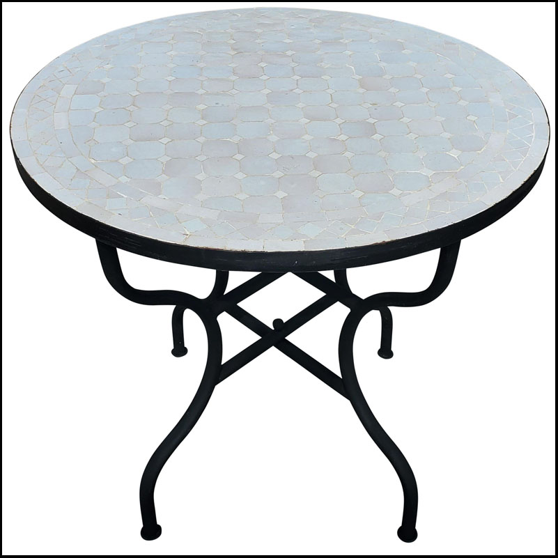32″ All White Moroccan Mosaic Table