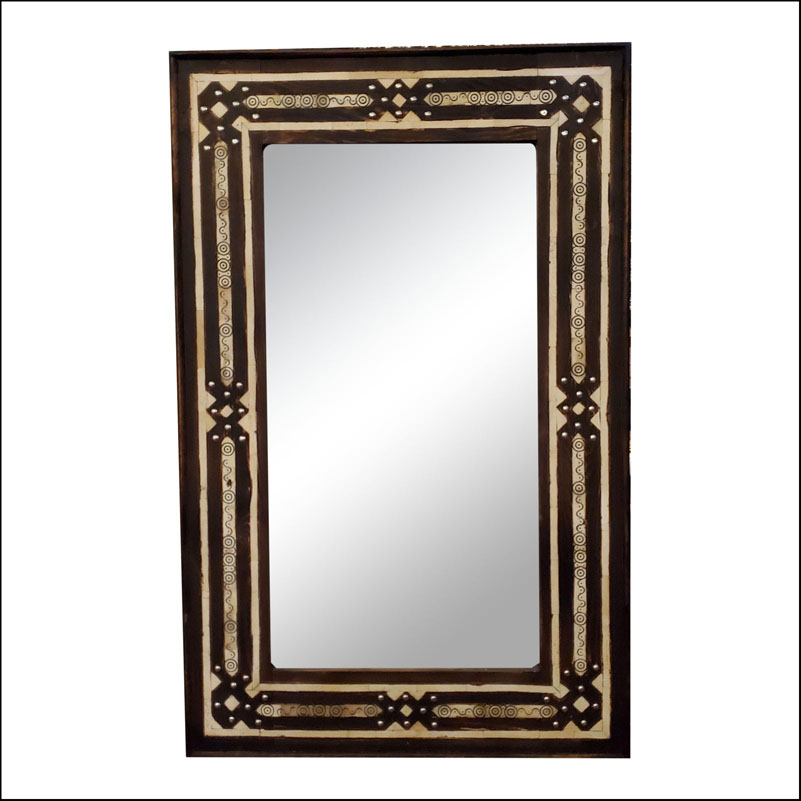 Old Moroccan Rectangular Camel Bone Mirror