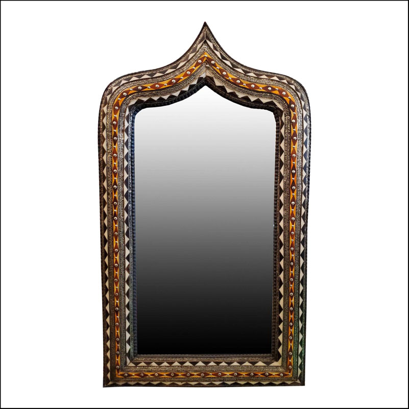 Large Moroccan Arched Camel Bone Mirror