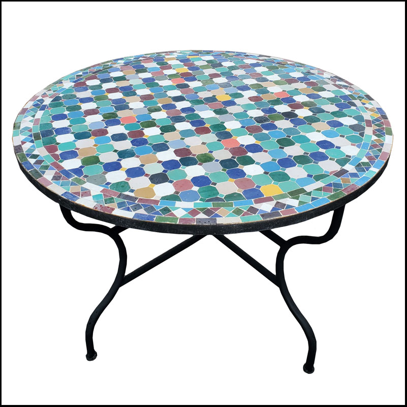 48″ Sampler pattern Moroccan mosaic table – Cora