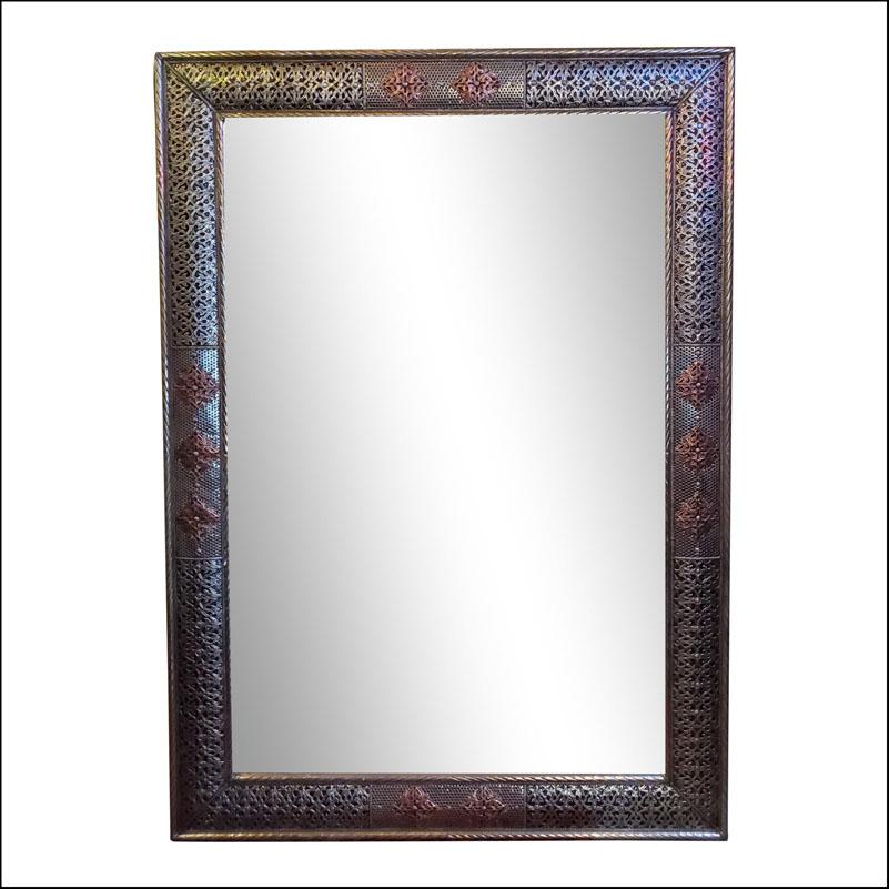 Rectangular Moroccan Metal Inlaid Mirror, 102LM24
