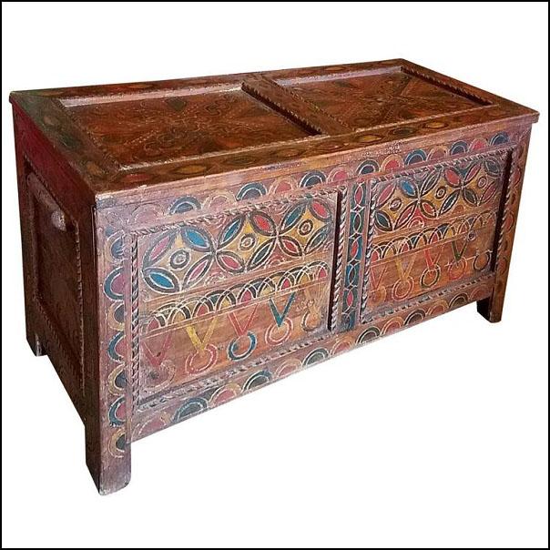 Moroccan Wooden Cedar Trunk, TV Stand, Berber Style