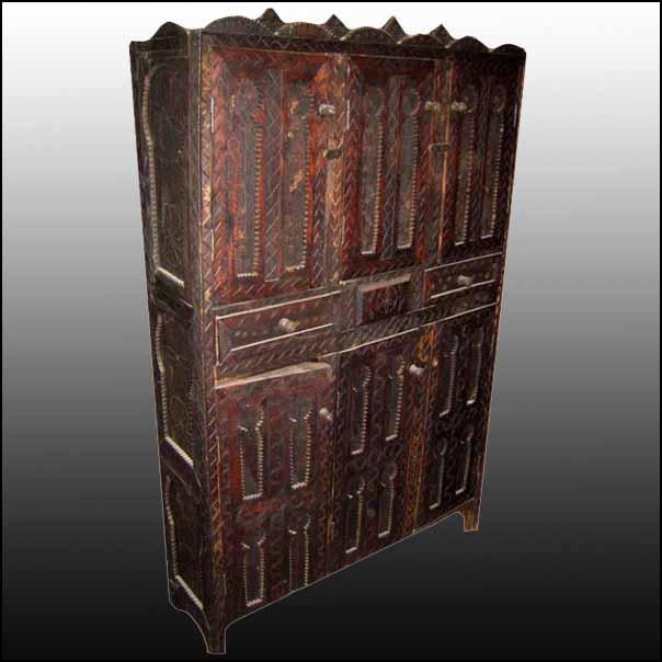 Moroccan Wooden Armoire – Carved Cedar