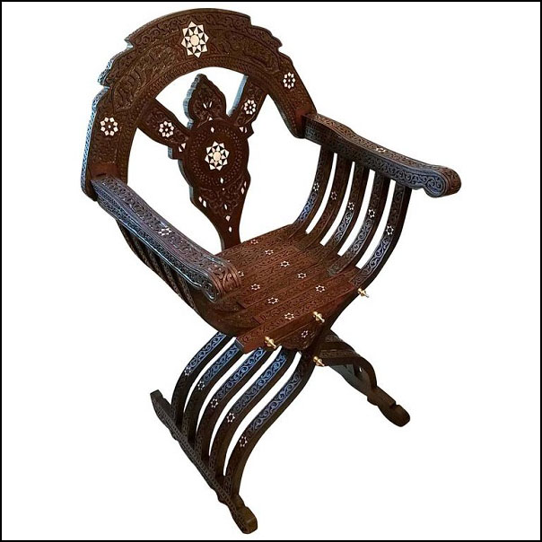Mother-of-pearl Syrian Style Chairs Walnut Wood