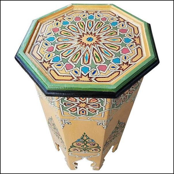 Beige Octagonal Hand – Painted Table, Marrakech