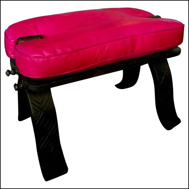 Moroccan Camel Saddle – Hot Pink Leather Cushion – Carved Cedar Wood Base