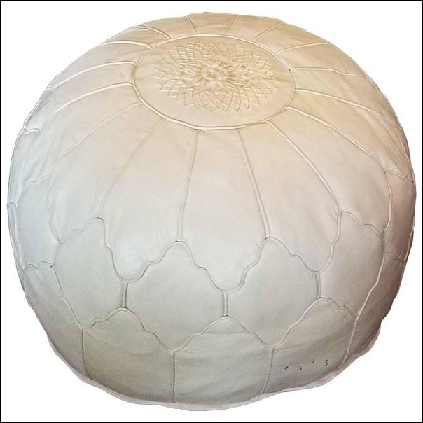 Oversize Moroccan Leather Pouf, Snow White