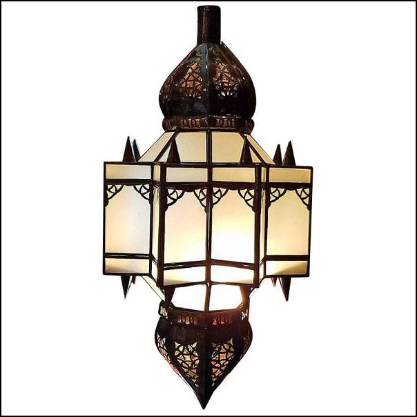 Moroccan Glass Lantern / Frosty White Glass – Makki Style