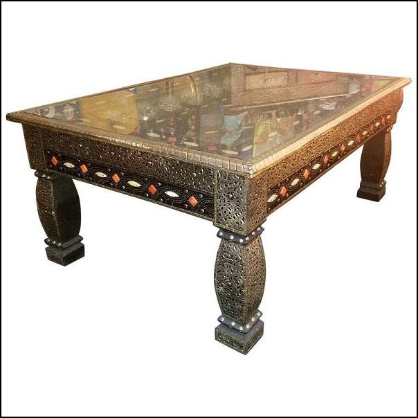 Moroccan Metal Inlaid Coffee Table – Camel Bone Added