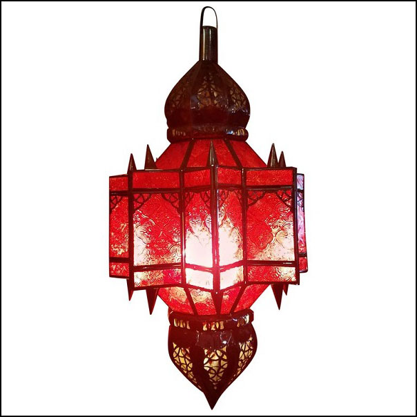 Moroccan Glass Lantern, Makki Style – Red Glass