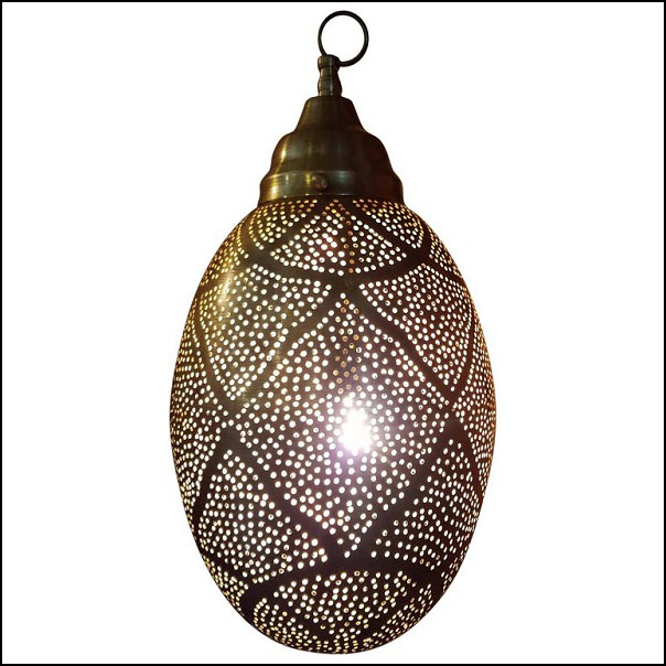 Moroccan Copper Wall / Ceiling Lamp or Lantern – Egg Shape