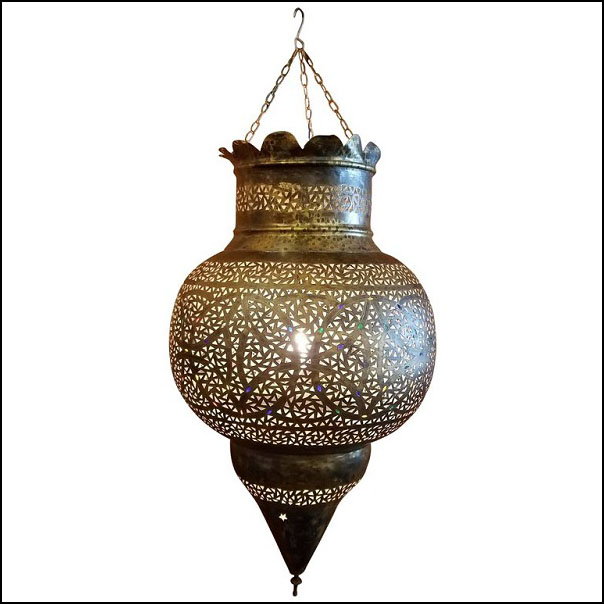 Moroccan Copper Wall / Ceiling Lamp or Lantern – Bombay Shape