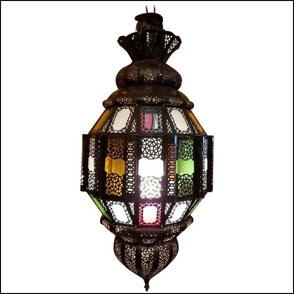 Turkish Moroccan Handmade Metal Lantern and Multi-Color Glass