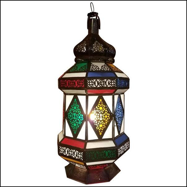 Flat Bottom Moroccan Multicolor Glass Lantern