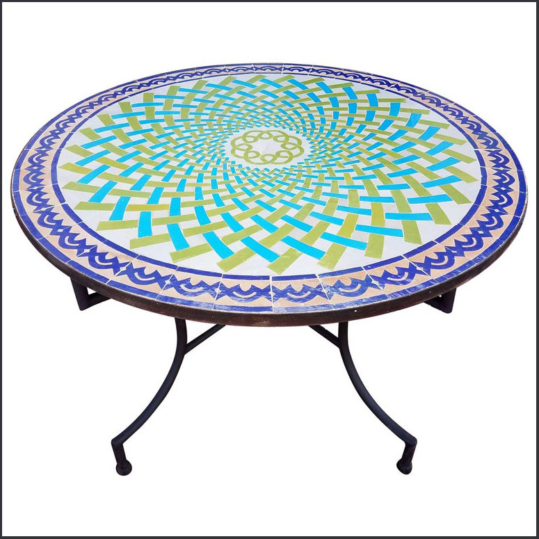 48″ Diam. One of a Kind Moroccan Mosaic Table – Spiral
