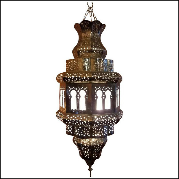 Old Fez Moroccan Lantern, Copper – Silver Look