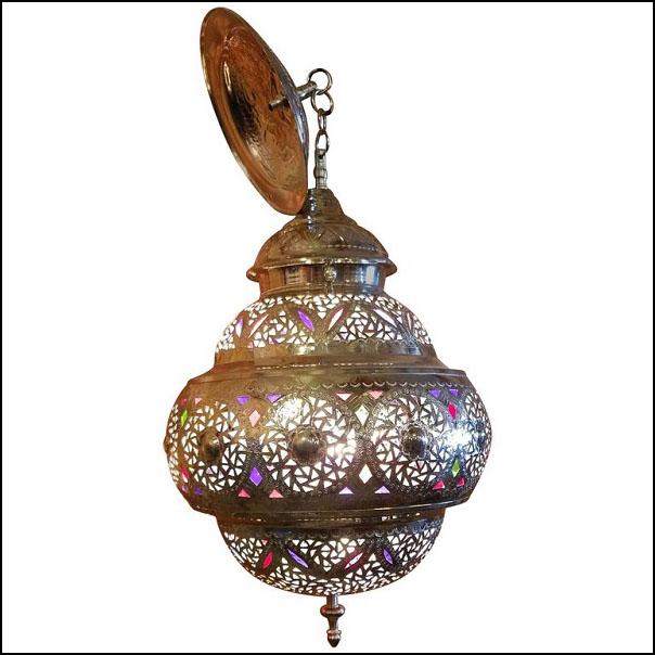 New Fez Moroccan Lantern, Copper, Silver Look