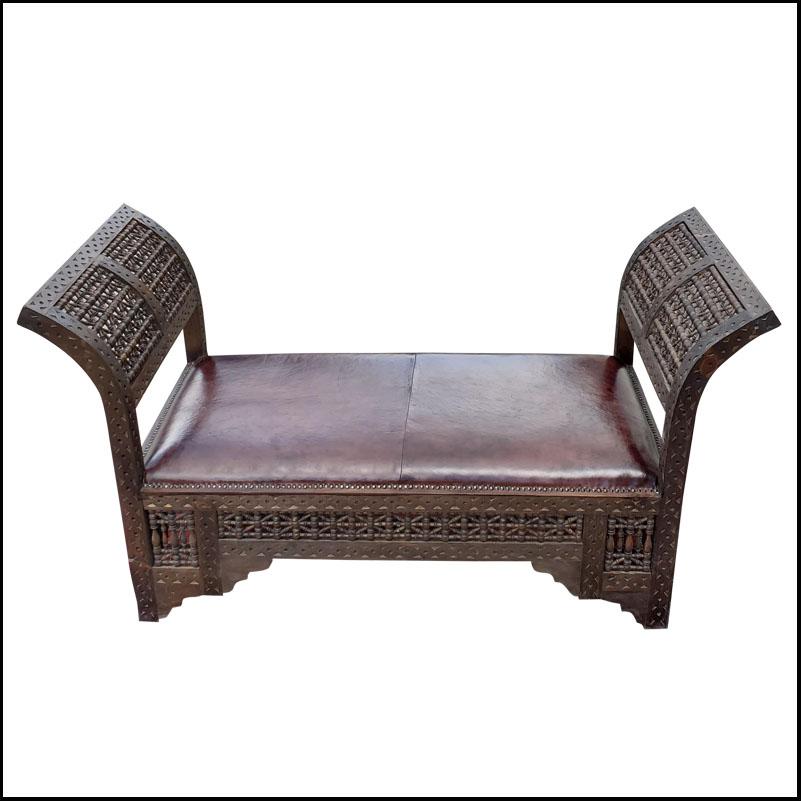 Moroccan Contemporary Cedar Wood Bench 2