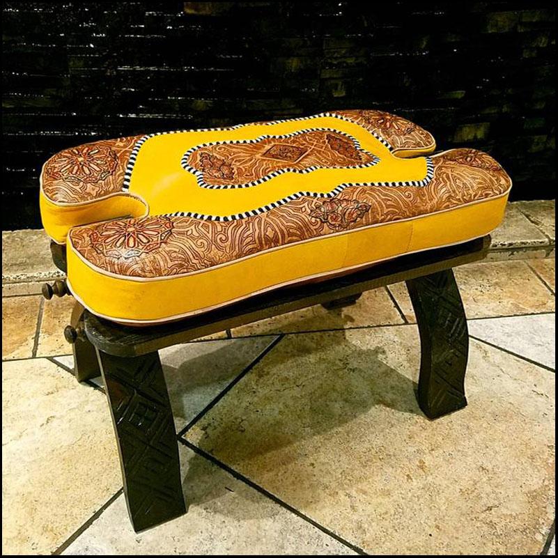 Mustard / Tan Moroccan Camel Saddle – Carved Base
