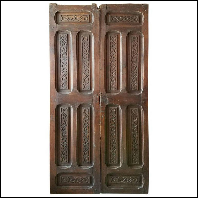Double Panel Moroccan Carved Wooden Door – Med
