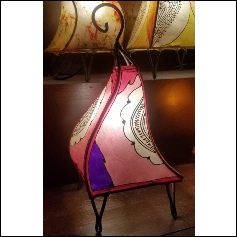 14″ Multicolor Moroccan Goat Skin / Henna Lamp