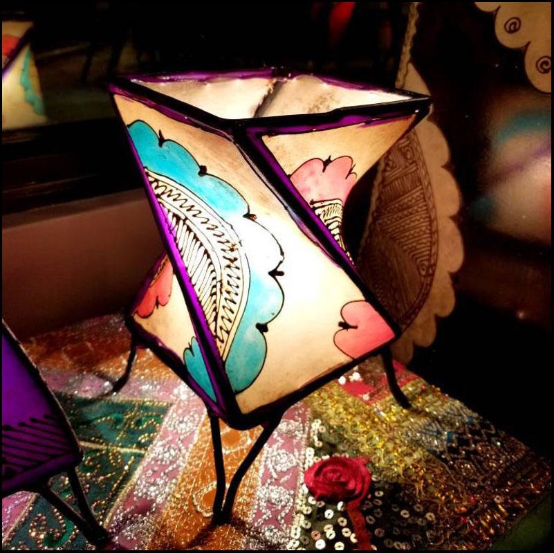 9″ Twist Multicolor Moroccan Goat Skin/ Henna Lamp