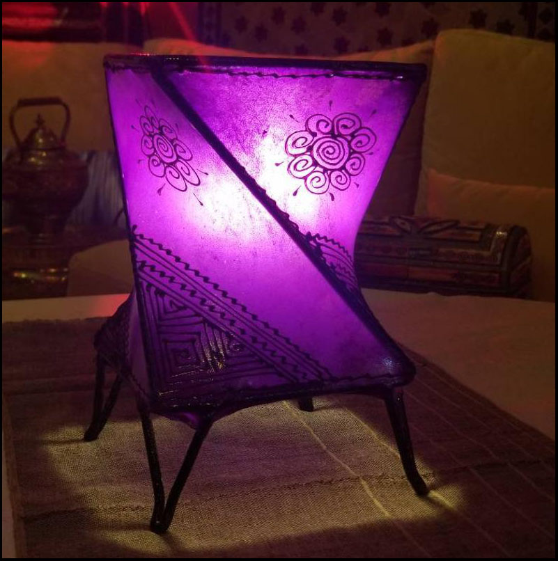 9″ Purple Twist Moroccan Goat Skin / Henna Lamp