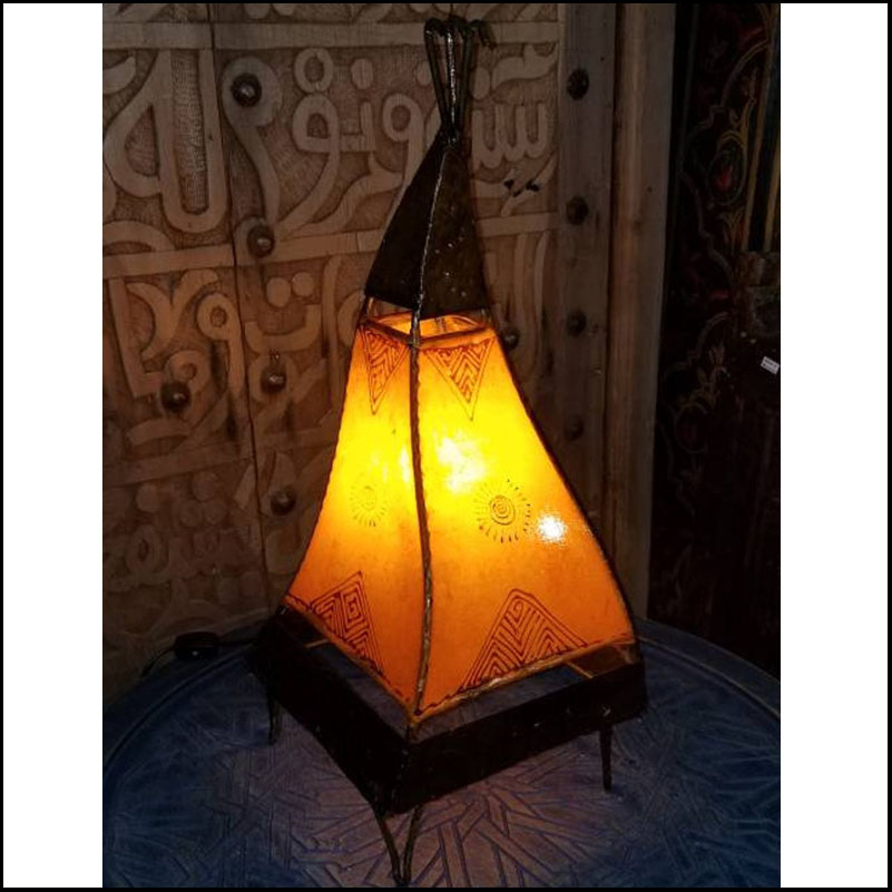 20″ Orange Rooster Moroccan Henna Lamp