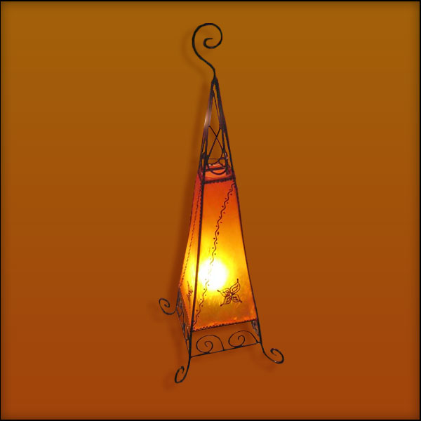 Moroccan Henna Lamp | Moroccan Goat Skin Lamp | Lighting & Decor